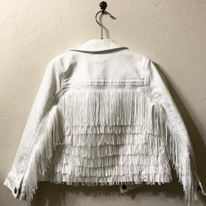 GAP Fringe Tassel White Jean Jacket